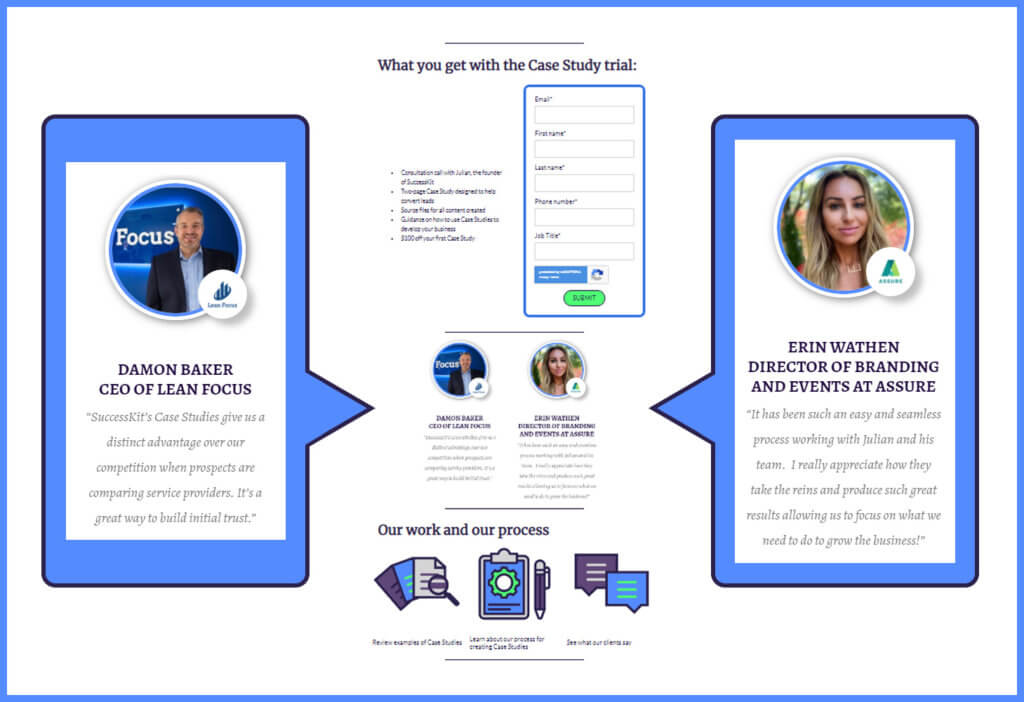 Examples of quotes pulled from Case Studies and used on a marketing landing page