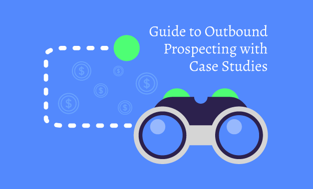 """Vector art illustration for the article """"Guide to Outbound Prospecting with Case Studies"""""""