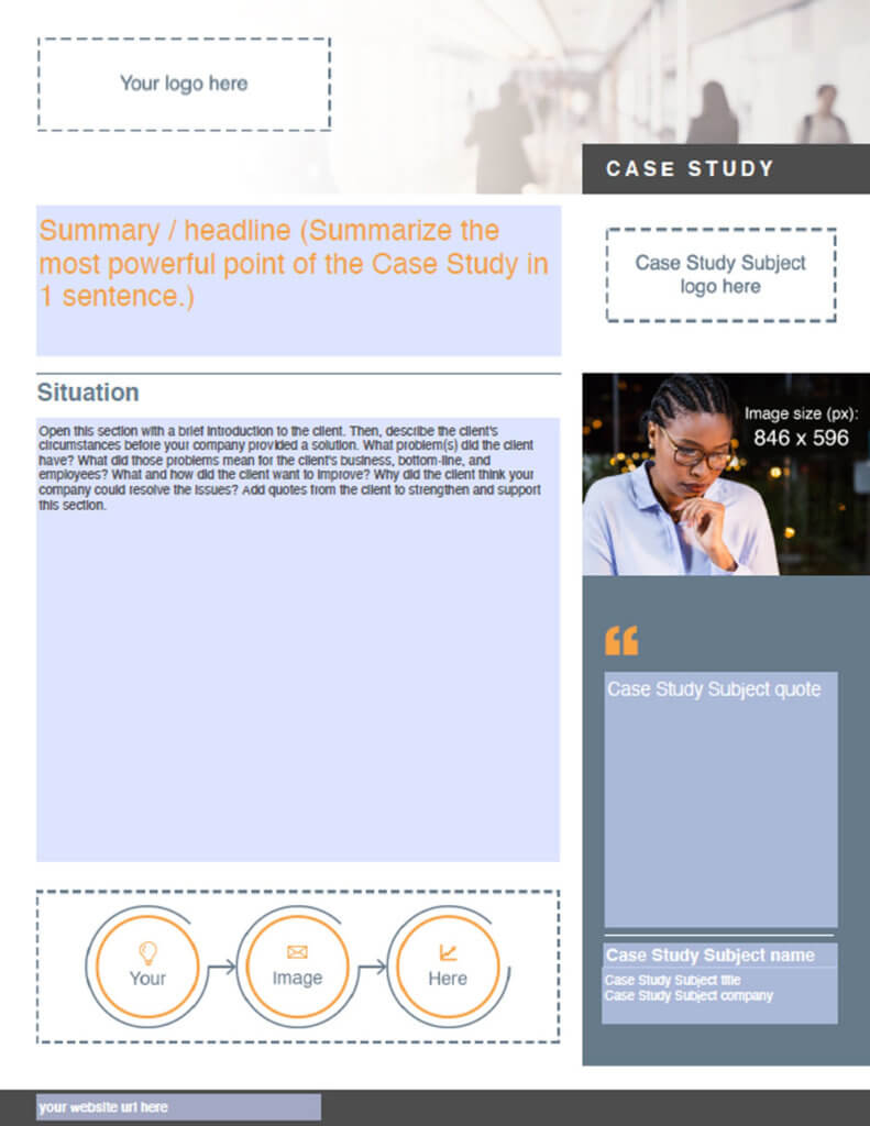 The first page of the SuccessKit Case Study template, which features the Summary and Situation sections and the Case Study Subject's quote