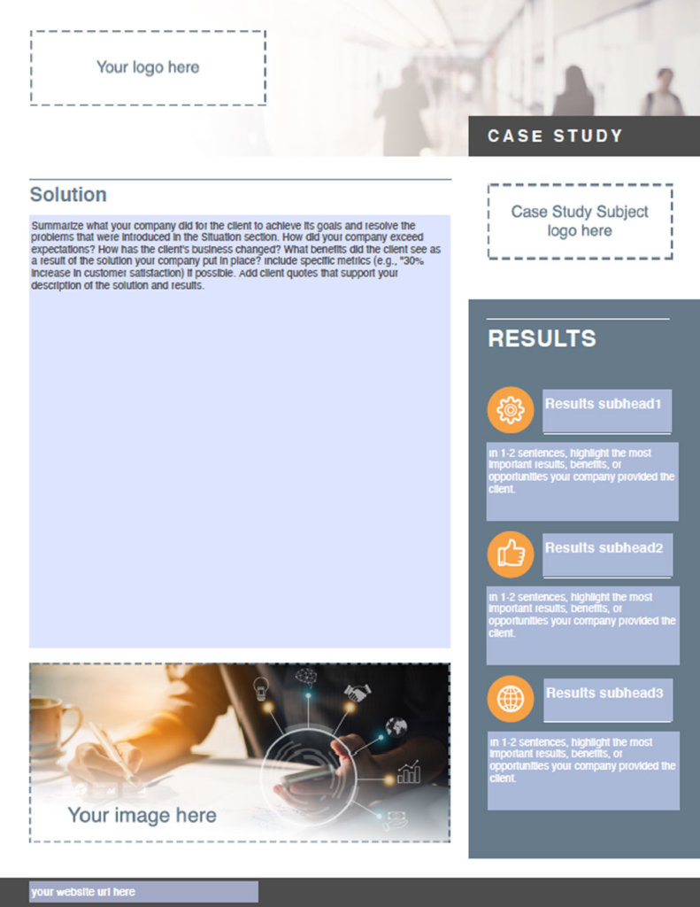The second page of the SuccessKit Case Study template, which features the Solution and Results section