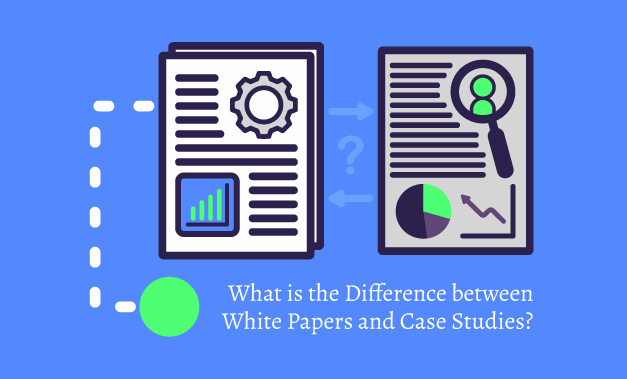 Vector art illustration for comparing White Papers and Case Studies for the article What is the Difference Between White Papers and Case Studies