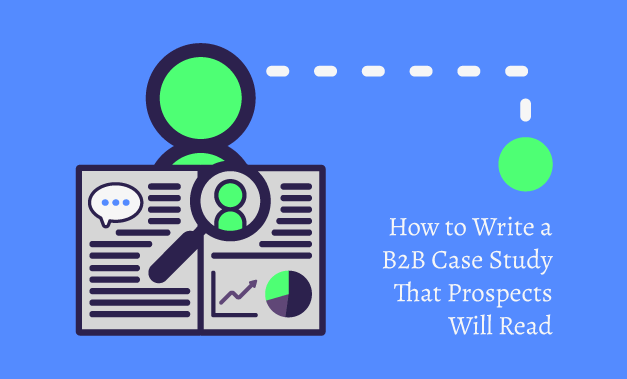 """Vector art illustration for the blog post """"How to Write a B2B Case Study that Prospects Will Read"""""""